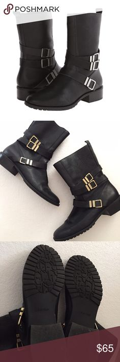 """FLASH SALE ⏰ Calvin Klein Black """"Moto"""" boots  9M Calvin Klein Black """"Moto"""" boots like new 9M. Black with gold buckles. Worn only a few times. Price is firm unless bundled. Calvin Klein Shoes Ankle Boots & Booties"""