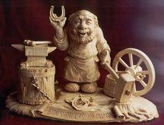 sculpture in wood: