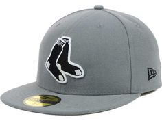 sports shoes 60d91 5fb81 Boston Red Sox New Era MLB Gray BW 59FIFTY Cap Fitted Caps, Boston Red Sox