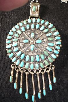 NAVAJO STERLING SILVER PETIT POINT TURQUOISE NECKLACE NATIVE AMERICAN DEAD PAWN