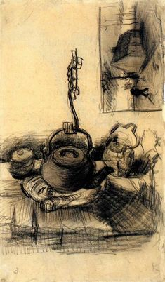 Kettle Over a Fire, and a Cottage by Night, Vincent van Gogh Medium: chalk,paper Vincent Van Gogh, Desenhos Van Gogh, Artist Van Gogh, Van Gogh Portraits, Dutch Painters, Beautiful Paintings, Illustration Art, My Arts, Sketches