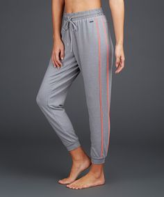 Heather Gray Contrast-Trim Relaxed Jogger by Zobha #zulily #zulilyfinds
