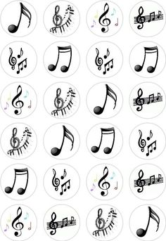 24 Music Notes Cupcake Fairy Cake Toppers Edible Rice Wafer Paper Decorations in…