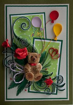 I LOVE Neli!!! She is such a wonderful quilling artist... here are some adorable cards with the teddy bears