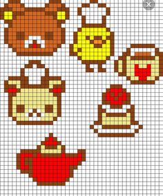 6 Earring Size Square Stitch Motifs ___ Small Teddy bear Heads ( One is a Chef ) ___ Baby Chick Chef ___ Teapot ___ Sugar Bowl w Packets of Sugar ___ One Serving of Strawberry Shortcake ___ Rilakkuma Set Perler Bead Pattern Pearler Bead Patterns, Kandi Patterns, Perler Patterns, Beading Patterns, Perler Bead Templates, Diy Perler Beads, Perler Bead Art, Beaded Cross Stitch, Cross Stitch Patterns