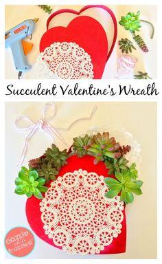 DIY Succulent Valentine's Day Wreath | Valentine's Day crafts | Succulents | Thrifty Valentine projects | 10 Minute Crafts | Door Wreaths via @https://www.pinterest.com/dazzlefrazzled/
