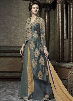 Glorious Grey Cream embroidery Thread Work Anarkali salwar suit http://www.angelnx.com/
