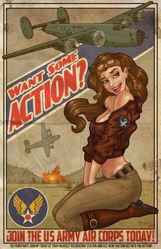 B-24 ¿quieres un poco de acción? Vintage imprimir arte Pinup & aeroplano por Mike Shampine - firmada y numerada