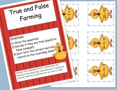 FREEBIE! True and false farming- determine if equations are equal or unequal