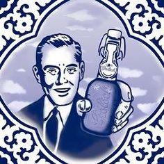 Delfs blauw tegeltje met bier