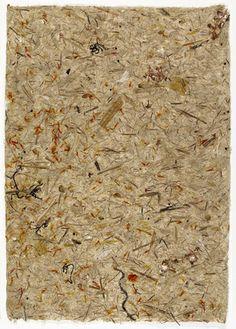 "John Cage (American, 1912–1992)  Wild Edible Drawing # 8    Date:      1990  Medium:      Handmade paper of milkweed, cattail, saffron, pokeweed, and hijiki  Dimensions:      17 x 12"" (43 x 30.5 cm)"