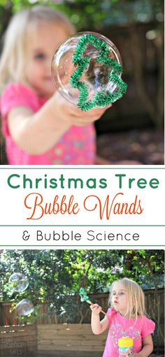 DIY Christmas tree bubble wands, and an exploration into bubble physics for kids. Fun Christmas science / STEM activity for the holidays.