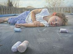 Artist: Mark B Goodson, oil on panel {contemporary realism girl foreshortening perspective child and chalk painting}