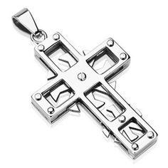 Mechanicross - Cool Swirls and Edges Master Work Of Craftsmanship Stainless Steel Cross Pendant. #BuyBlueSteel #Jewelry