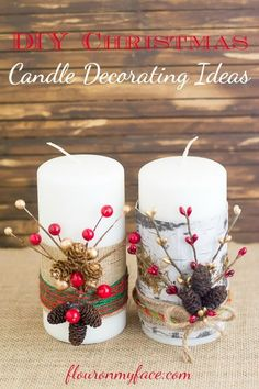 festive christmas candles, christmas decorations, crafts, seasonal holiday decor, Festive Christmas Candles