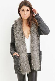 Faux Fur-Trim Cardigan | Forever 21 Contemporary - 2000142610