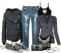 Grey and black coach outfit