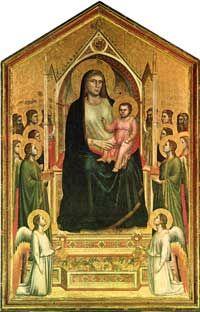 Giotto's Maria; persoonlijk, menselijk, contact. Volume en textuur. Overlapping, diepte door atmosferisch perspectief. Illusie van ruimte.
