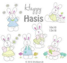 Happy Hasis 10x10 oder 13x18 6 entzückende Häschen tummeln sich in dieser Stickdatei.