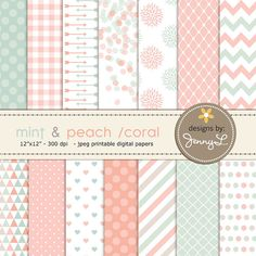 Mint and Peach Coral Digital Paper Mother's by JennyLDesignsShop