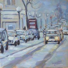 """"""" Soir de neige à Maubeuge """" --- Acrylique 40 x  40 cm --- 350 € ---- Auteur: Vanmansart Pierre --- Artiste peintre  --- Comines --- France ---"""