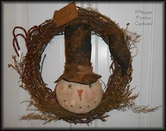 Primitive Winter Christmas Snowman Door Hanger doll With Grapevine Wreath Handmade By Megans Primitive Cupboard for sale!