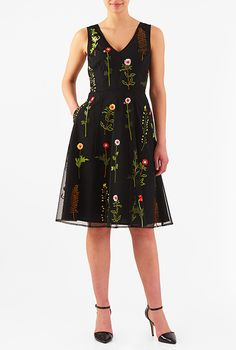 add SHORT-LENGTH-WITH TIE-UPS   Floral and leaf embellished tulle dress from eShakti