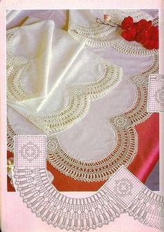 Toca do tricot e crochet Filet Crochet, Crochet Lace Edging, Crochet Borders, Crochet Diagram, Crochet Chart, Thread Crochet, Crochet Trim, Love Crochet, Irish Crochet