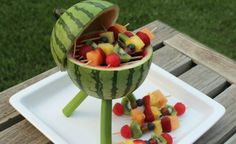 """While you might be outside grilling up some hotdogs and hamburgers this summer, you're going to want to have some tasty sides to go along with your barbecued meats. And what better side to have than a fresh """"dish"""" that looks like a grill! This watermelon..."""