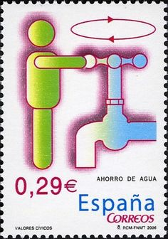 Stamp: Civic Values: Saving Water (Spain) (Civic Values) Mi:ES 4118,Sn:ES… Save Water, Stamp Collecting, Postage Stamps, Spain, Collections, Aqua, Sevilla Spain, Stamps, Spanish