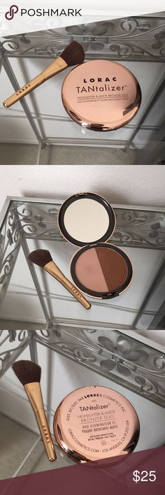 Lorac TANtalizer Lorac highlighter and bronzer duo. Never used, only been swatched. Also including a Lorac bronzing brush. LORAC Makeup Bronzer