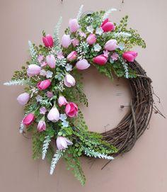 "19"" Pink Floral Spring Summer Grapevine Door Wreath"