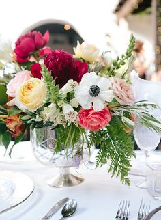 Flowers by ella & louie. Photo by Gold Leaf Weddings. Silver compote with peonies, anemone, garden roses
