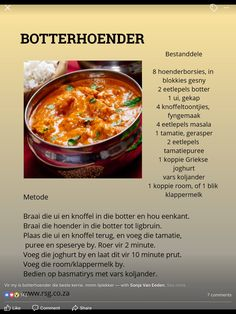 butter Chicken-Botterhoender butter Chicken - – Food for Healty Kos, South African Recipes, Indian Food Recipes, Easy Cooking, Cooking Recipes, Banting Recipes, Butter Chicken, Thing 1, Light Recipes