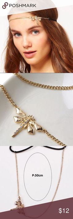 Gold Beautiful Dragonfly Headband New Cute Gold Rhinestone Dragonfly Headband Jewelry