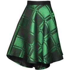 Chikimiki Rosie Jacquard Skirt (€465) ❤ liked on Polyvore featuring skirts, quilted skater skirt, green skater skirt, skater skirt, green circle skirt and green tartan skirt