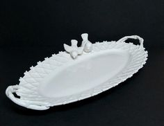 """Victorian Birds Gracie China Serving Platter Plate Tray Lattice Lace White 16"""""""