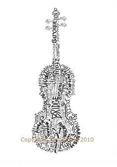 Violin art calligram print by Joni James