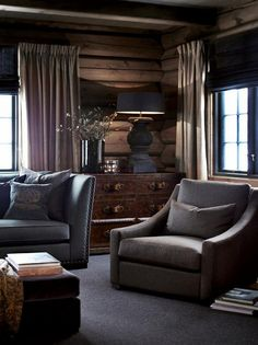 15+ Amazing Modern Home Gates Design Ideas ~ Welcomemyblog.com Cabin Homes, Log Homes, Modern Lodge, Lodge Decor, Cozy House, Furniture Decor, Decoration, Interior Design, Cottage