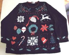 Ugly Christmas Sweater Wreath Reindeer Candy Cane Snowflake Holly Holiday Xmas #AdeleKnitwear #Sweater #UglyChristmasSweater #CandyCane #Snowflake #Poinsettia #Tree #Bell #PineCone #Reindeer #Holly #Ornaments #Hearts
