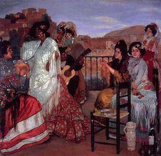 Obras de Arte: Pintor español Ignacio Zuloaga Danza gitana en la terraza en Granada 1922-1923