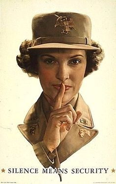 """""""Silence Means Security"""" Poster featuring a WAAC with the now hard-to-find officer's cap device. The Women's Army Auxiliary Corps (WAAC) was created on 15 May 1942 by Public Law 554, and converted to full status as the WAC (Women's Army Corps) on 1 July 1943. The cap device pictured became obsolete at that point and is in high demand by collectors."""