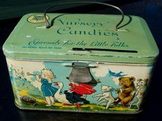 Vintage Nursery rhymes candies litho tin by Tindeco co bail handle