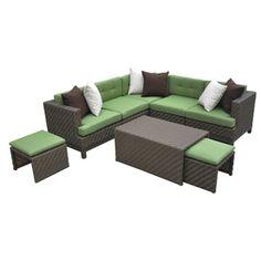 AE Outdoor 8-Piece Brown Aluminum Patio Conversation Set
