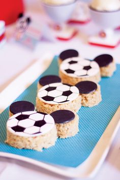 Blue & Red Mickey Mouse Soccer Party. Soccer Treats, Soccer Snacks, Soccer Birthday Parties, Soccer Party, Soccer Ball, Soccer Theme, Rice Crispy Treats, Krispie Treats, Rice Krispies