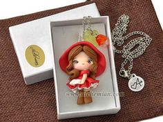 Little Red Riding Hood tale character necklace by AlchemianShop
