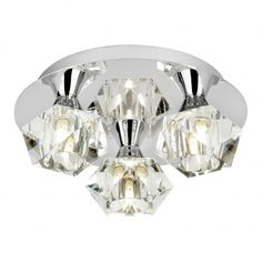 £83 Endon ARIETTA-3PCH Arietta 3 Light Semi-Flush Ceiling Light Chrome