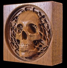 cnc carved wooden skull and gears steampunk for by WindwoodDesigns