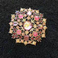 Vintage Pink and Purple Floral Burst Gold Tone Brooch Rhinestone #Unbranded