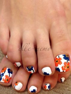 White and floral blue orange summer spring nail design Toe Nail designs (4)